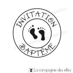 INVITATION BAPTEME petits pieds - tampon nm