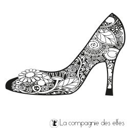 tampon encreur chaussure | woman shoe rubber stamp