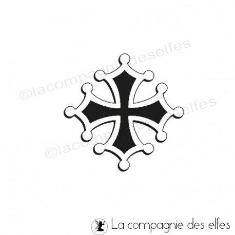 Tampon bois occitan | tampon encreur croix occitane | croix occitane