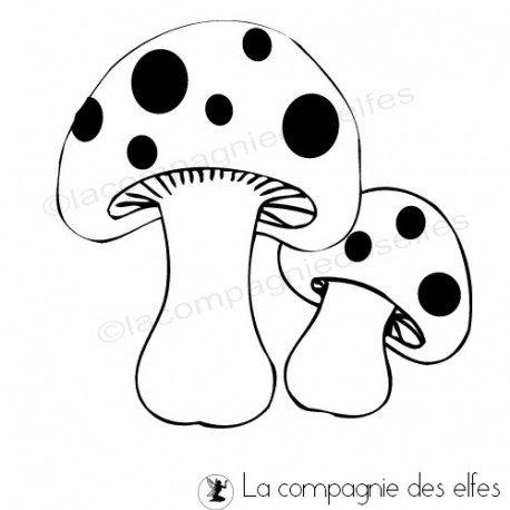 mushrom rubber stamp | tampon encreur champignon