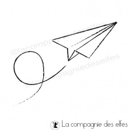 Tampon avion papier | airplane rubberstamp