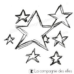 tampon étoiles | stars rubber stamp
