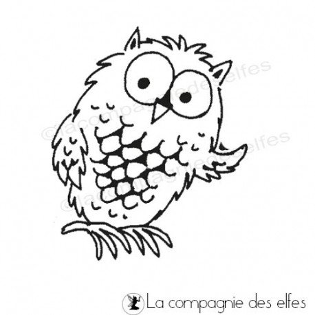 tampon encreur chouette | tampon scrapbooking chouette | owl rubber stamp