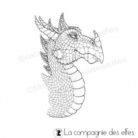tampon encreur dragon | tampon tête de dragon