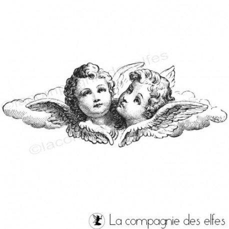 Tampon couple ange | tampon encreur anges