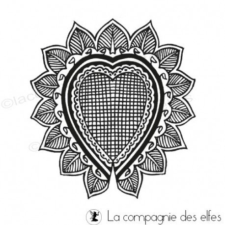 tampon coeur dentelle   embrodery rubber stamp