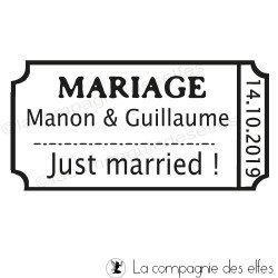 MARIAGE ticket - tampon BOIS sur mesure