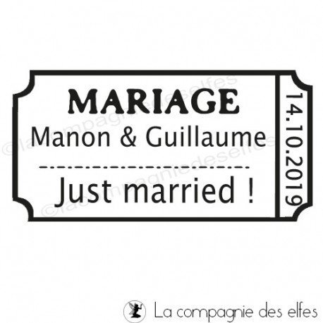 ticket mariage   faire part mariage   tampon just married