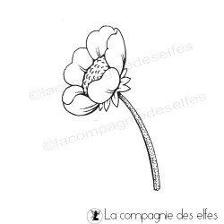 tampon encreur anémone | tampon fleur scrap