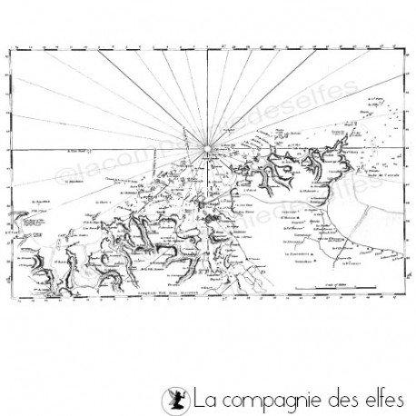 Carte maritime | tampon encreur carte mer | sea rubber stamp