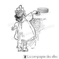 Tampon petite fille coquine vintage - nm