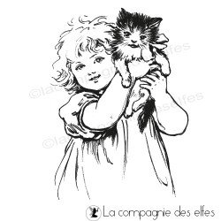 petite fille et chaton tampon nm
