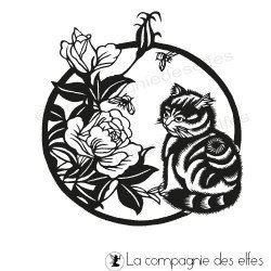 cat stamp | flower stamp | tampon scrapbooking chat