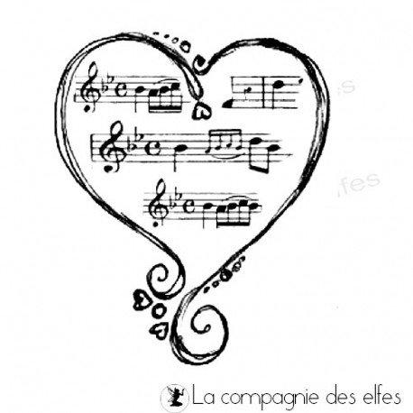 tampon coeur | tampon encreur musique