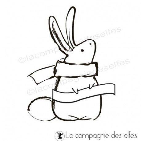 Tampon lapin| tampon encreur hiver | rabbit christmas stamp