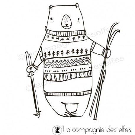 Tampon ski| Tampon encreur hiver | Ski christmas stamp