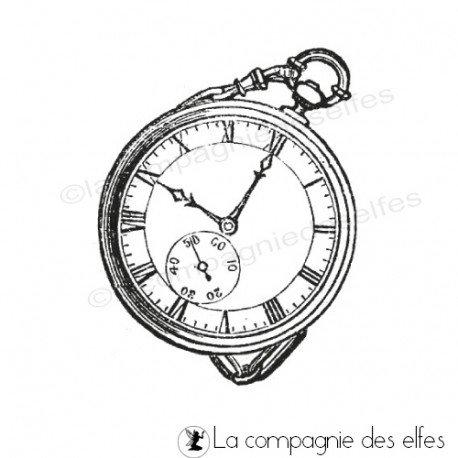 Tampon montre à gousset | vintage clock stamp