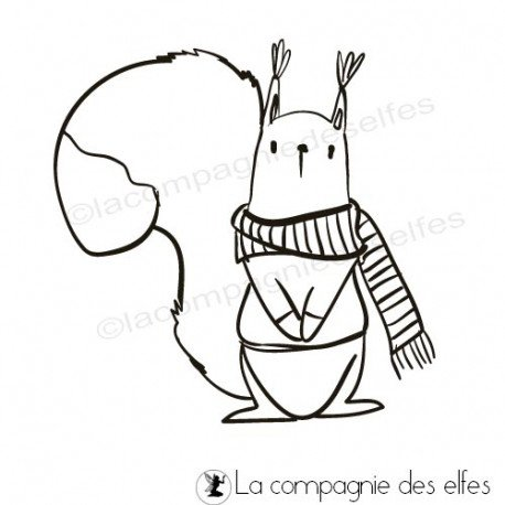 Sketch carte un petit mot. Tampon-ecureuil-hiver