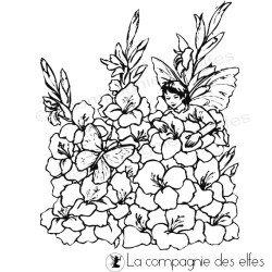 elfe dans ses fleurs tampon nm