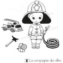 Tampon tenue de pompier | firefighter rubber stamp