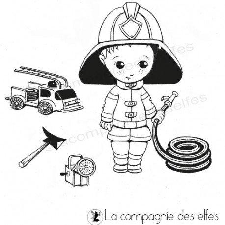 Tampon tenue de pompier   firefighter rubber stamp