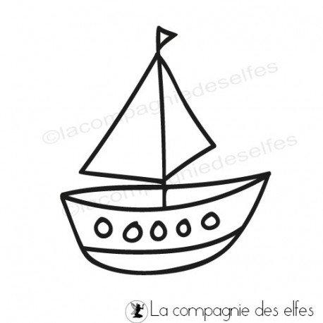 Tampon encreur bateau | Boat rubber stamp