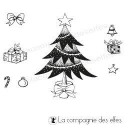 le sapin de Noel et accessoires -grand tampon nm