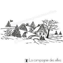 Tampon neige | tampon rétro de noel