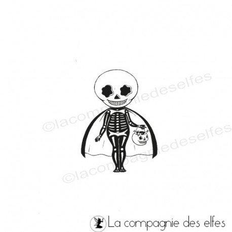 Tampon squelette | skeleton rubber stamp
