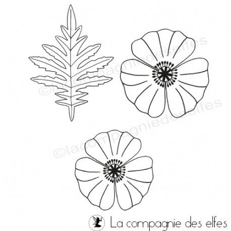 poppy stamp | poppies rubber stamp | tampon parvati