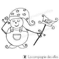 Tampon bonhomme de neige | snowman rubber stamp