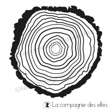 Tampon rondin de bois | wood rubber stamp