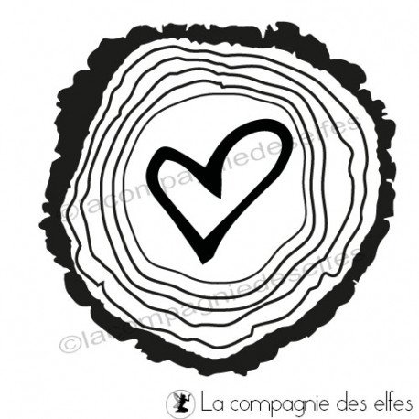 Tampon coeur bois | heart in the wood stamp