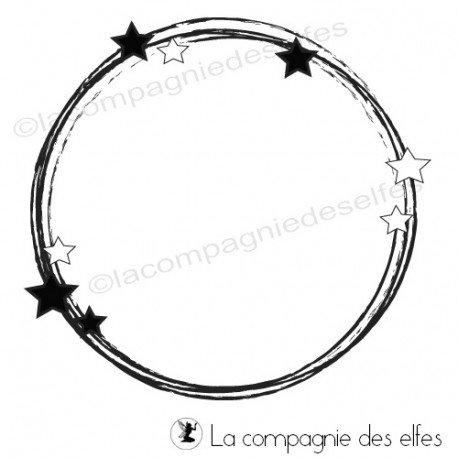 Tampon cercle étoilé | tampon étiquette scrap