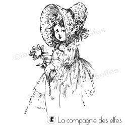 petite fille vintage à la rose tampon nm