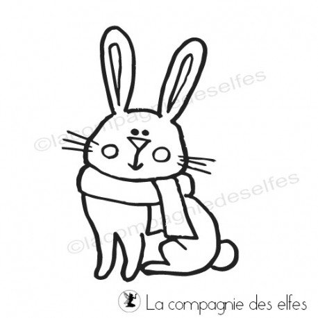 Tampon encreur lapin | winter rabbit rubber stamp