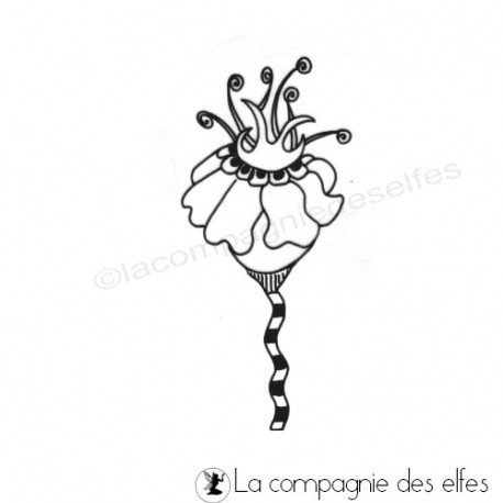 Tampon azoline | flower rubber stamp