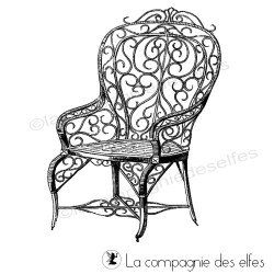 chair rubber stamp | tampon rétro chaise