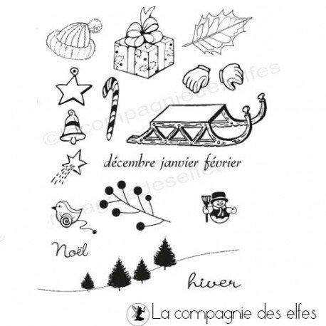 Pocket letter de Cricri en forme de calendrier de l'avent Tampons-motifs-hiver-non-monte
