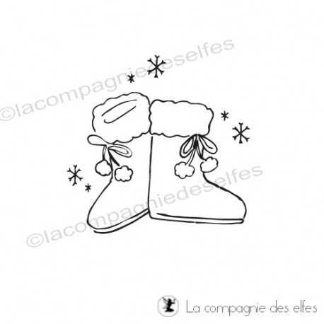 Tampon botte fourrure|christmas boots stamp