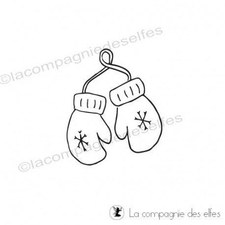 Tampon gant hiver|christmas ski stamp