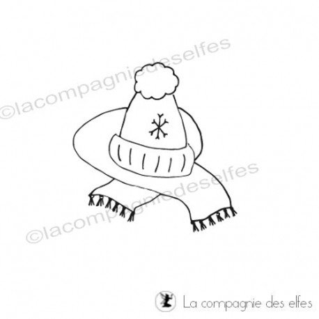 Tampon bonnet écharpe|winter rubber stamp
